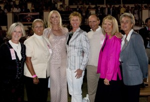 (Left to Right) Carol Lavell, Linda Zang, Chair Tamara Gerber, Karin Reid Offield, Steffen Peters, Anne Gribbons and Founder and Chair Mary Ross