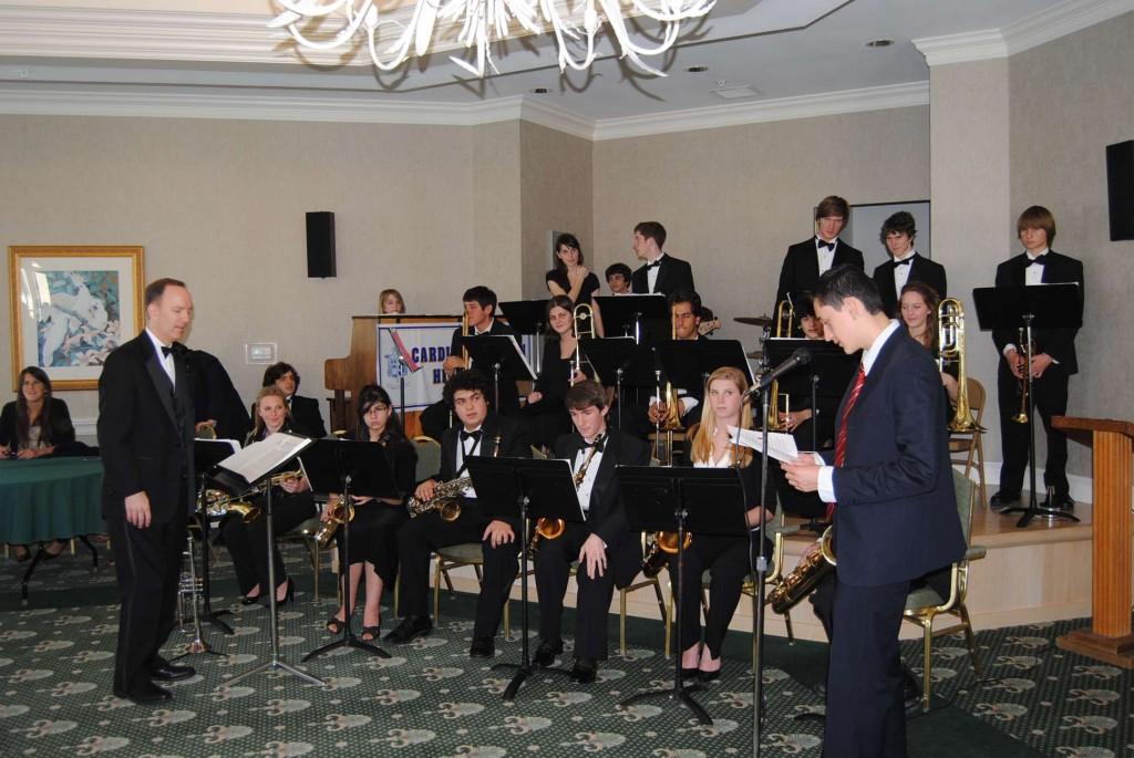 Cardinal Newman High School Band Director David Skinner and CN Jazz Ensemble.