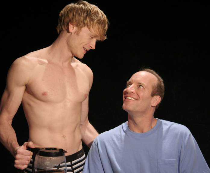 "Adam and Luke in ""Next Fall"" at the Caldwell Theatre, Joshua Canfield and Tom Wahl"