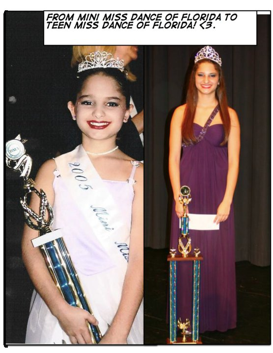 Jillian Medero as Mini Miss Dance of FL in 2005 and as Teen Miss Dance of FL in 2011