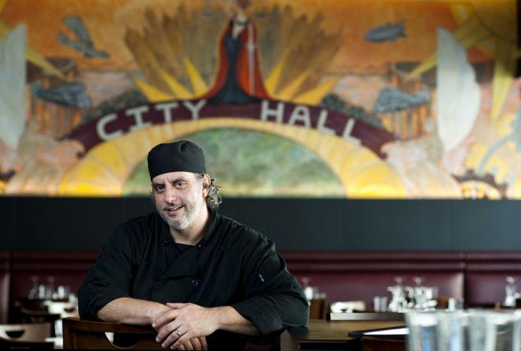 Executive Chef Tom Azar at City Hall, the restaurant. Photo by Andres Aravena.