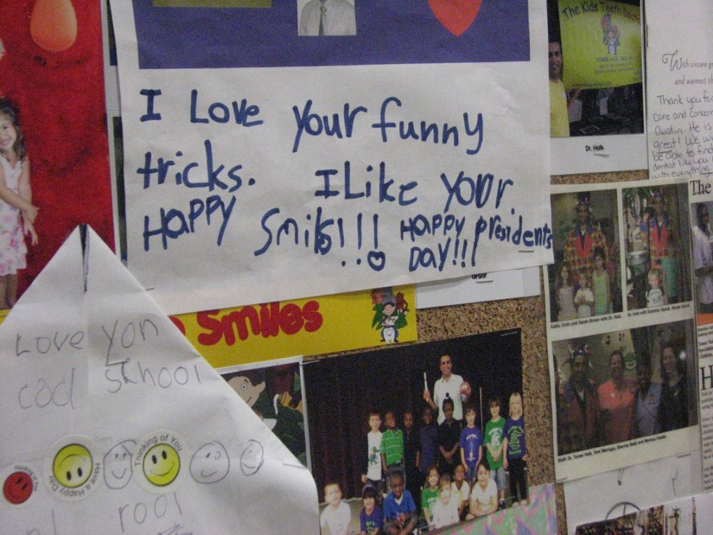 "One of the letters on the bulletin board of ""thank you"" letters and photos in Dr. Haik's office."