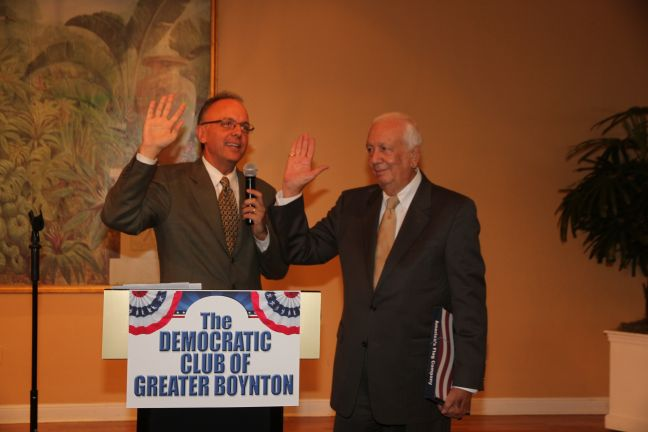 Congressman Ted Deutch at the Democratic Club of Great Boynton Beach meeting. Photo: Carol Porter.