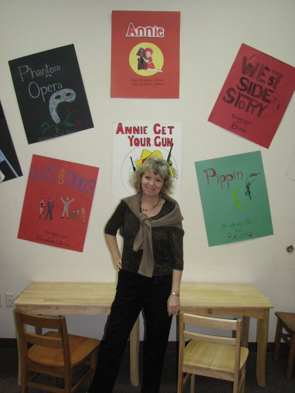 Karen Braunstein, getting ready for Annie, Jr. which will be held at the Wellington High School auditorium