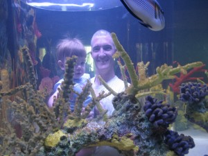 Enjoying the new pop-up tank, where visitors can get a 360 degree view of the aquarium.