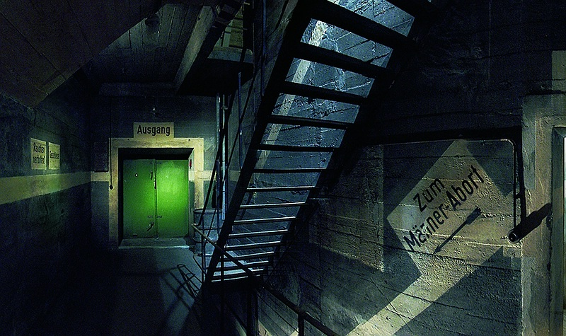 Green Door Entering Berlin's Underground Bunkers - WWII Air Raid Shelters - Images © Berliner Unterwelten e.V.
