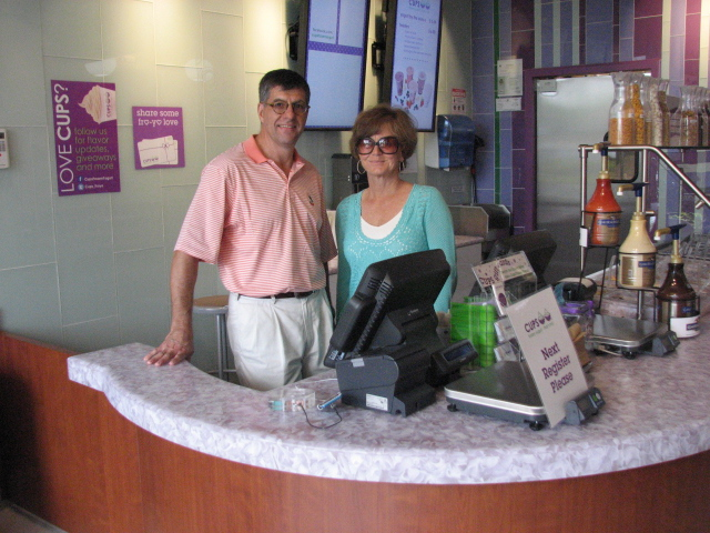 Ed and Dana Alvarez of Cups Frozen Yogurt, located in the Whole Foods plaza on 441 in Wellington.