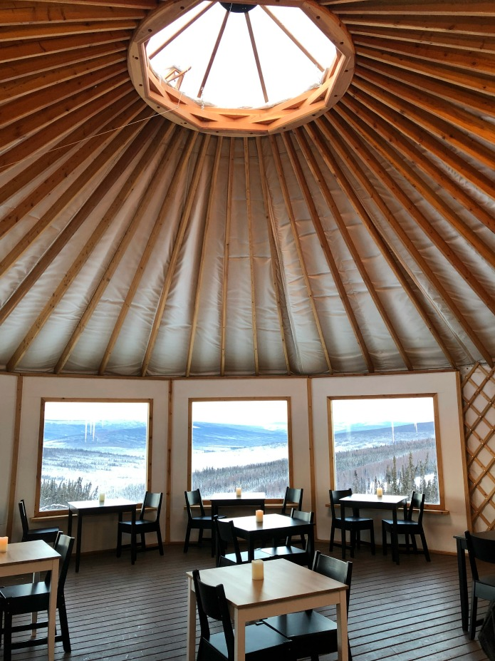 Dining in a yurt at Borealis Base Camp on Travel with Terri